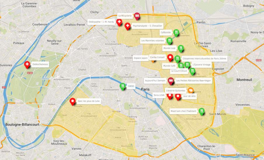 Carte annuaire des prestataires à Paris